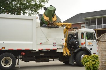 Photo of garbage truck dumping can